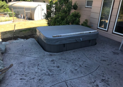 Inset hot tub pad, stamped concrete